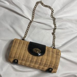 Handbags - Straw cylinder purse chain handle vintage inspire